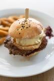 Burger mit Zwiebelringen stockbild