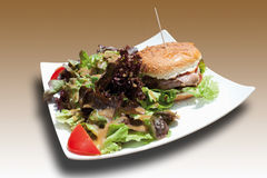 Burger with mixed salad in square plate Royalty Free Stock Photo