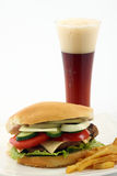 Burger and mug of beer Royalty Free Stock Image