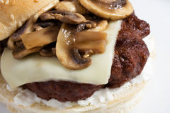 Burger with Mushroom & Swiss Royalty Free Stock Photography