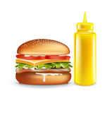 Burger and mustard bottle isolated Stock Images