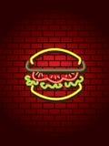 burger neon sign Στοκ Εικόνα