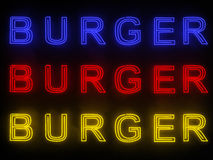Burger Neon Sign Royalty Free Stock Images