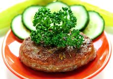 Burger On Red Plate Royalty Free Stock Photo