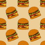 Burger pattern. hand drawn illustration. Bright cartoon illustration for menu design, fabric and wallpaper. stock illustration