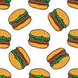 Burger pattern on white background. Seamless pattern with burgers on white background. Vector hand-drawn illustration for banners, menus and print Stock Photo