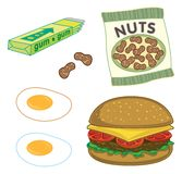 Burger, peanuts, gum, eggs Stock Photo