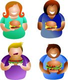 Burger people. Diverse people eating burgers - icon people series Royalty Free Stock Photos