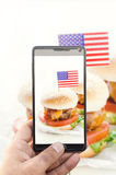 Burger photographing Stock Photo