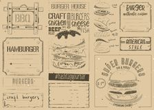 Burger Placemat on Craft Paper Stock Images