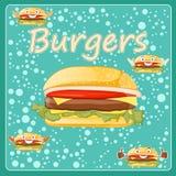 Burger-Plakat in der Karikaturart Stockfotos