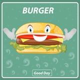 Burger-Plakat in der Karikaturart Lizenzfreie Stockfotos