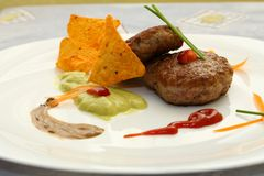 Burger on plate Royalty Free Stock Photo