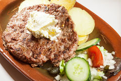 Burger on Plate Royalty Free Stock Photos