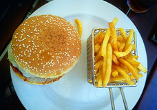 Burger with pommes frites Stock Image