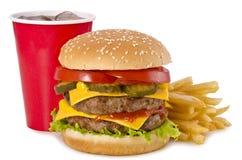 Burger, Pommes-Frites und Kolabaum Lizenzfreie Stockfotos