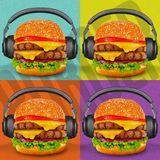 Burger Pop Art. Headphones Hamburger Cheeseburger Poster Print Artistic Music Party royalty free stock photography