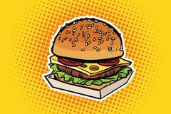 Burger pop art illustration Royalty Free Stock Photography