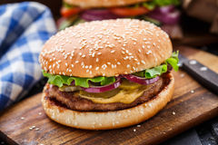 Burger with pork cutlete Stock Photo