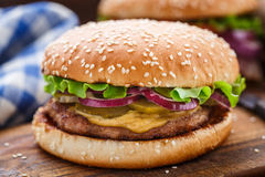 Burger with pork cutlete Stock Photos