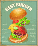 Burger. Poster in American traditional vintage style Stock Photography