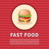 Burger poster. Cute cartoon colored picture of fast food. menu design elements. Vector illustration of fast food Stock Photo