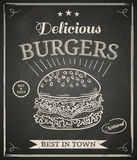 Burger poster. Burger house poster on chalkboard Royalty Free Stock Photos