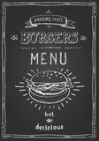 Burger poster menu sketch drawing. On the chalkboard.Vector illustration Stock Photography