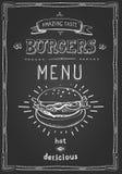 Burger poster menu sketch drawing Stock Photography