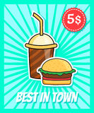 Burger poster. Vector poster in retro style with burger and coke Stock Photography