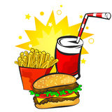 Burger, potatoes and drink vector Stock Image