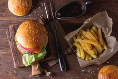 Burger and potatoes Royalty Free Stock Photography