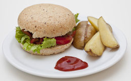 Burger and potatoes Royalty Free Stock Image
