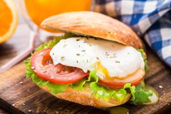 Burger with pouched egg and tomato Stock Images