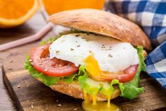 Burger with pouched egg and tomato. For breakfsat Stock Image