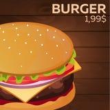Burger price. Fast food Restauran menu. Vector illustration. Royalty Free Stock Photo