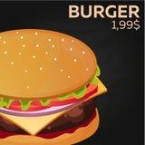 Burger price. Fast food Restauran menu. Vector illustration. Royalty Free Stock Images