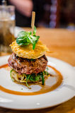 Burger with ramen noodles Royalty Free Stock Photo