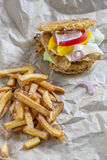Burger with ramen noodles Royalty Free Stock Photography