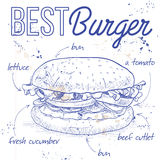 Burger recipe on a notebook page. Hamburger hand drawn vector llustration realistic sketch. Burger,  recipe on a notebook page Stock Images