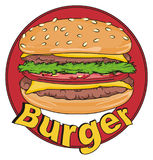 Burger and red banner. White burger stick out from red circle banner with name burger Royalty Free Stock Image