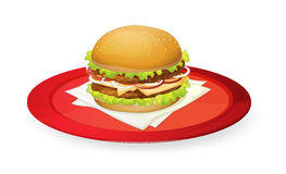 Burger in red dish. Illustration of burger in red dish on white Stock Photo