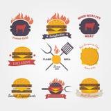 Burger restaurant flat design vintage label Royalty Free Stock Images
