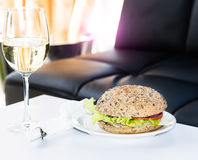 Burger at restaurant Royalty Free Stock Photos