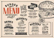 Burger menu restaurant, food template. Burger restaurant menu. Vector food flyer for bar and cafe. Design template with vintage hand-drawn illustrations Stock Photo