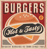 Burger retro poster design Stock Images