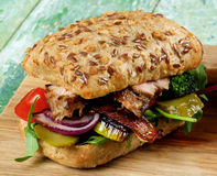 Burger with Roasted Pork Royalty Free Stock Image