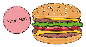 Burger and round sign. One burger with circle pink icon Royalty Free Stock Images