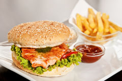 Burger with salmon Royalty Free Stock Photo