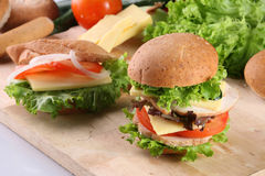 Burger and sandwich. Infront of ingredients Stock Photo